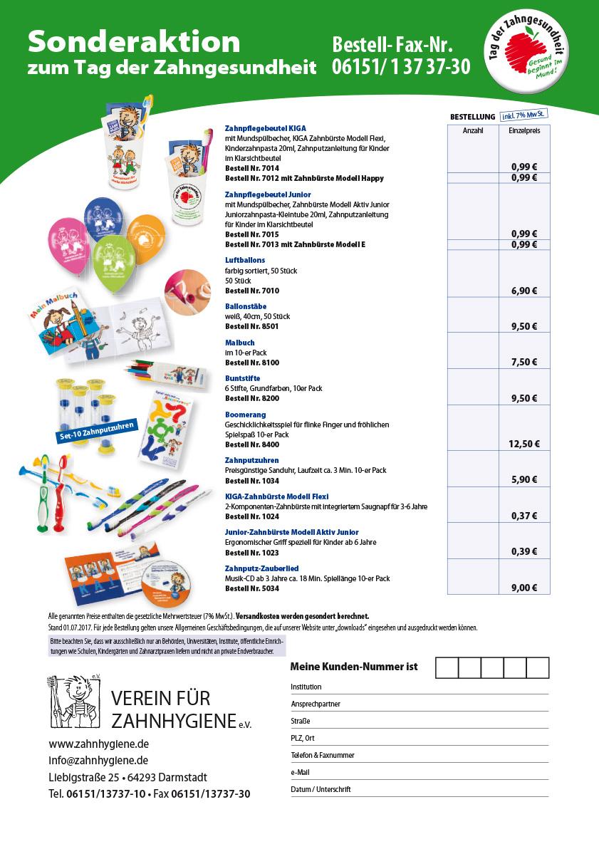 Aktionsblatt Tag der Zahngesundheit 2017 Bestellformular