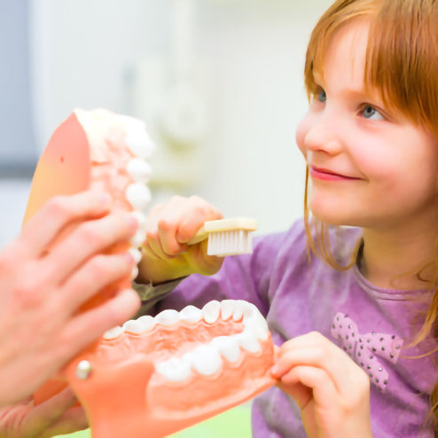 Zahnräztin erklärt Mädchen Zähneputzen