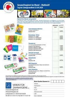 VfZ Aktionsblatt Bestellformular Tag der Zahngesundheit 2020