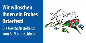 Wir wünschen Ihnen ein Frohes Osterfest! Die Geschäftsstelle ist vom 6.-9.4. geschlossen.